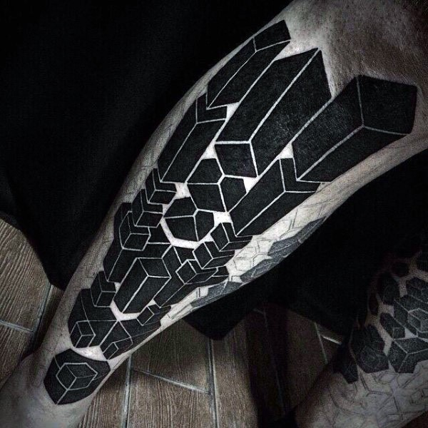 3D style black ink leg tattoo of various figures