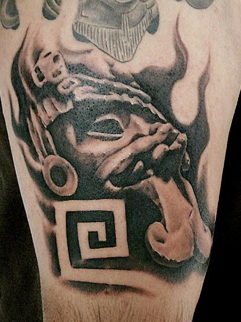 3D style black ink mystic god statue tattoo