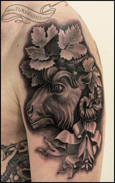 3D style black ink shoulder tattoo of goat with ribbon and leaves