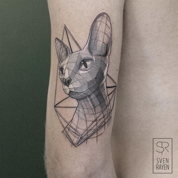 3D style colored arm tattoo of geometrical cat
