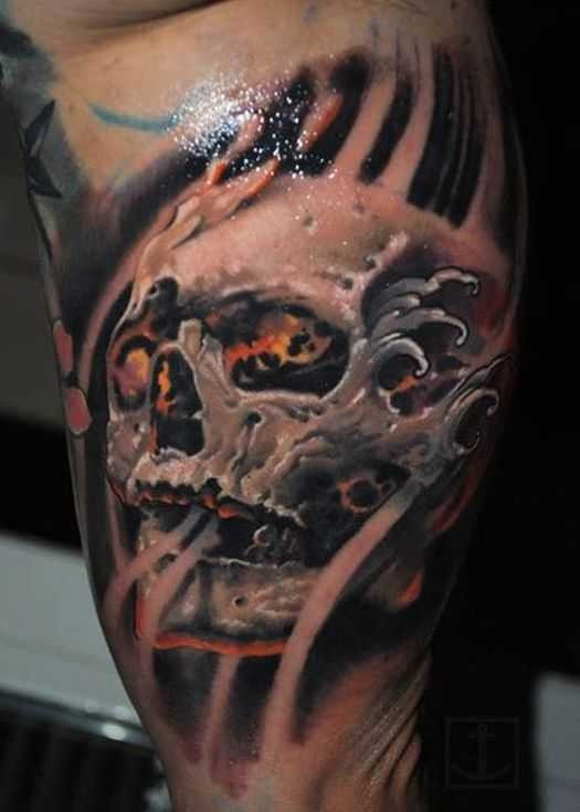 3D style colored biceps tattoo of fantasy human skull