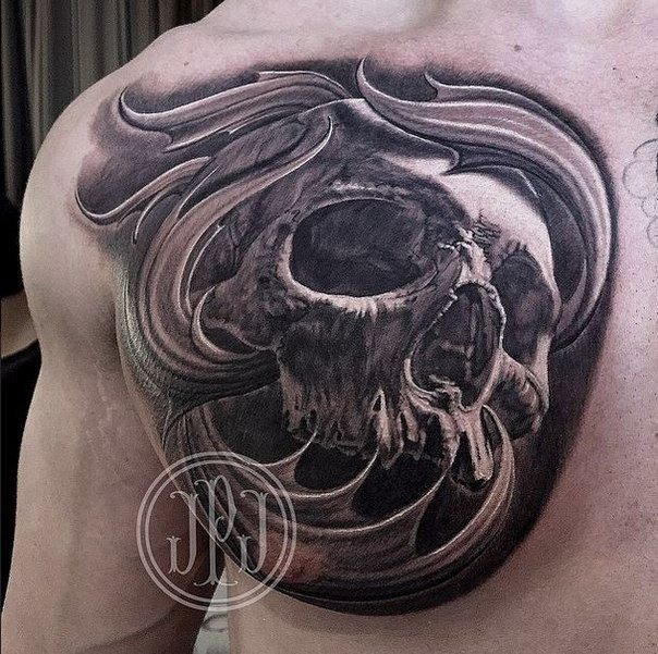 3D style colored chest tattoo of detailed human skull