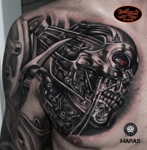 3d style colored chest tattoo of terminator robot for Terminator face tattoo