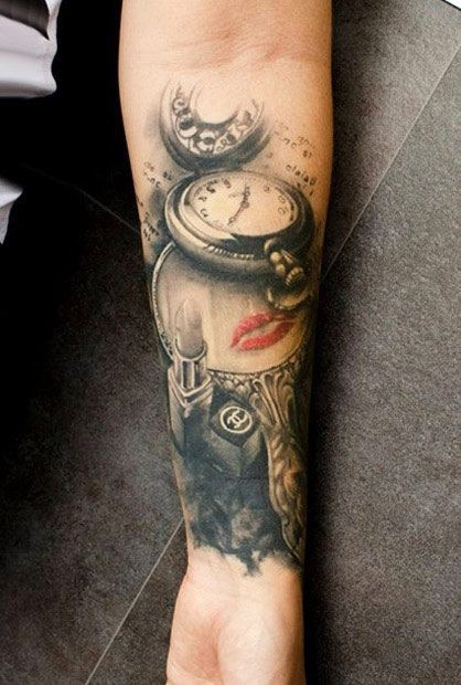 3D style colored forearm tattoo of clock with mirror and lipstick