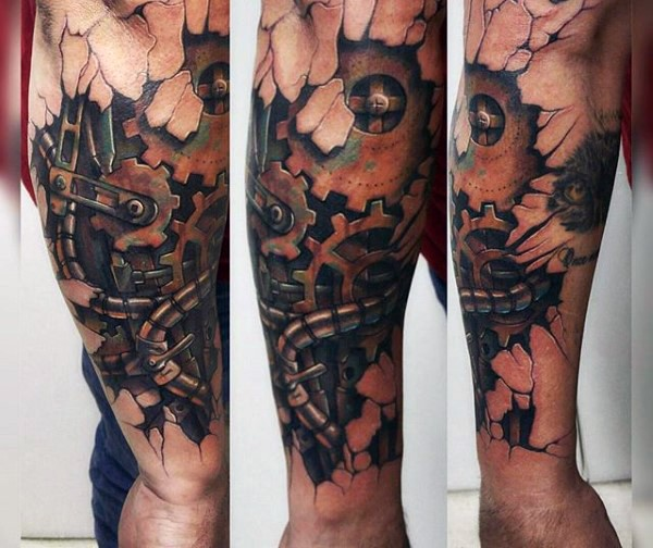 3D style colored forearm tattoo of old rusty mechanism