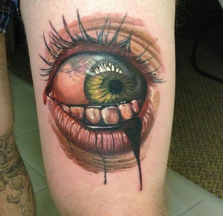 3D style colored horror style thigh tattoo of woman eye with bloody teeth