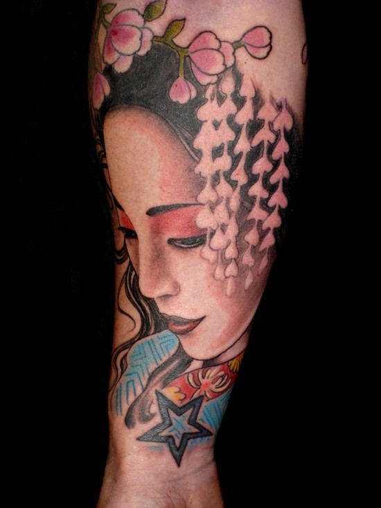 3D style colored sad geisha portrait tattoo on forearm combined with flowers