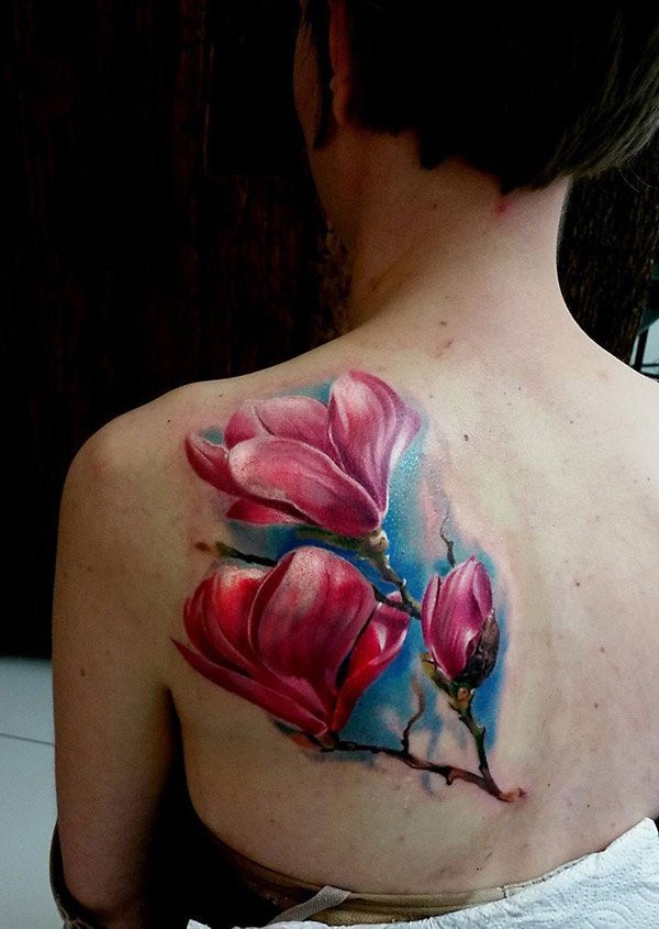 3D style colored scapular tattoo of beautiful flowers