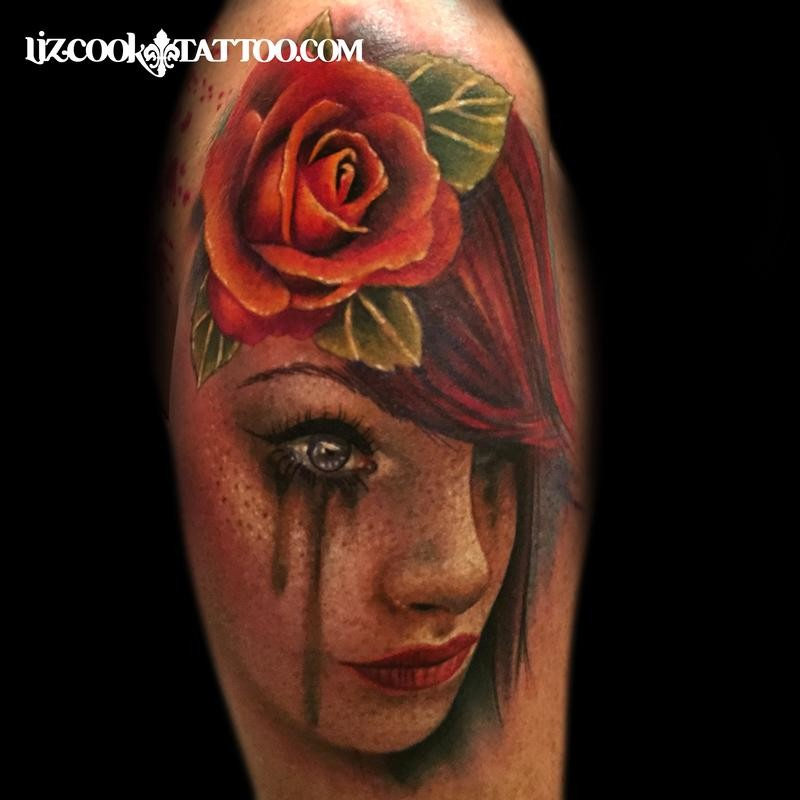 3D style colored shoulder tattoo of crying woman with red rose