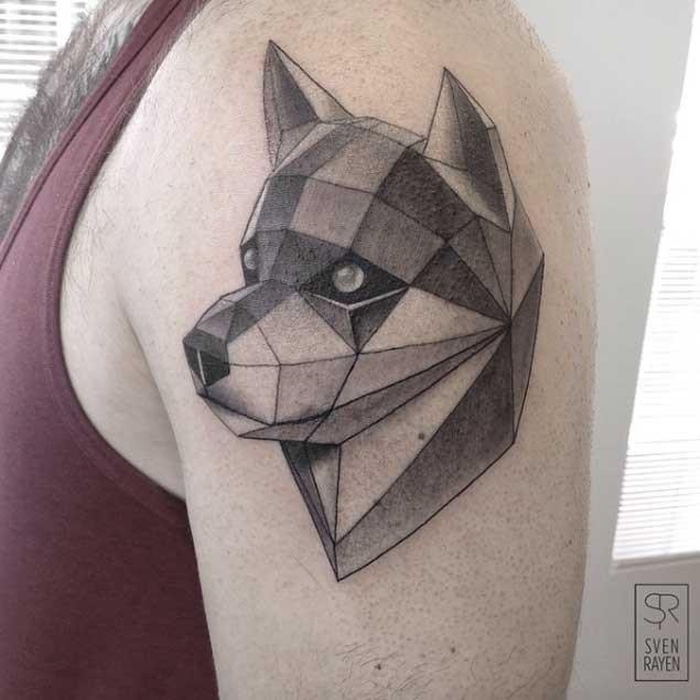 3D style colored shoulder tattoo of funny dog head