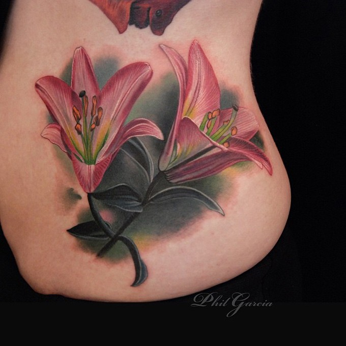 3D style colored side tattoo of large beautiful flowers