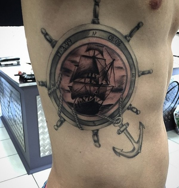 3D style colored side tattoo of ships steering wheel stylized with sailing ship