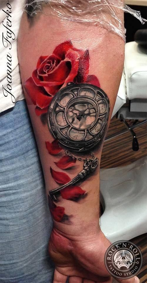 3D style colored tattoo of red rose with mechanical clock and key