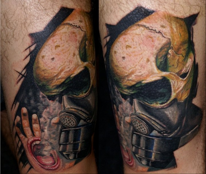 3D style colored tattoo of skull with gas mask and creepy hand
