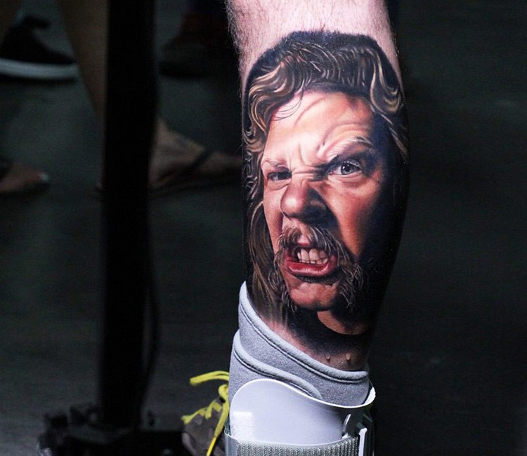 3D style colored very detailed angry man portrait tattoo on leg with funny mustache