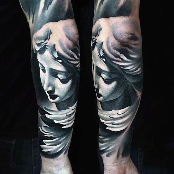 3D style colored vintage forearm tattoo of antic statue