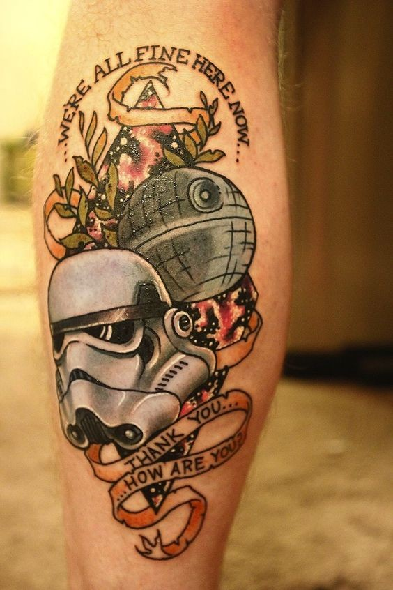 3D style comic books style colored Star Wars themed tattoo on leg combined with lettering