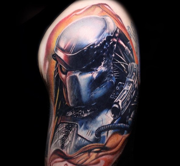 3D style cool colored big Predator tattoo on shoulder