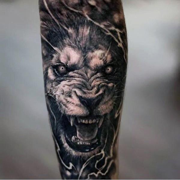 837721ec85125 3D style creepy looking forearm tattoo of demonic lion ...