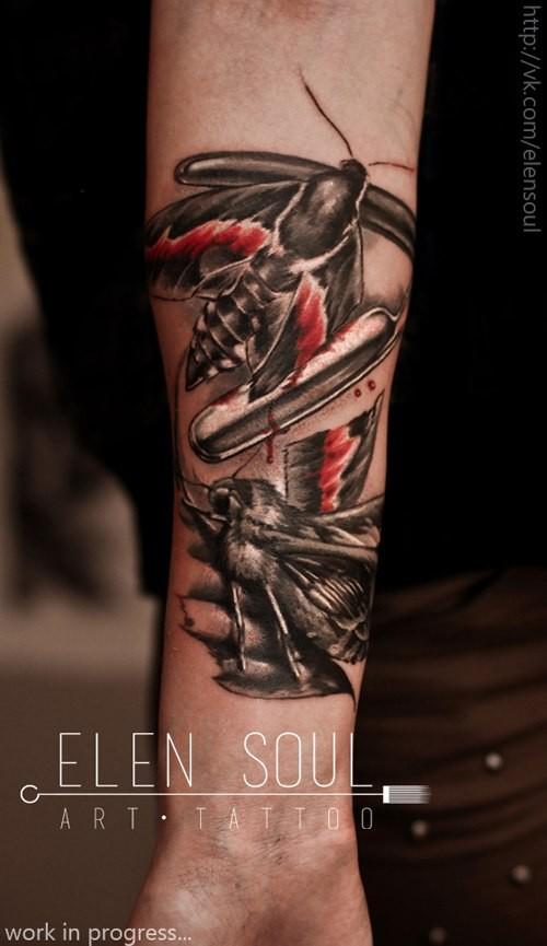 3D style cute colored forearm tattoo on bleeding butterflies