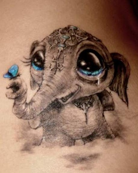 3D style cute little crying baby elephant with butterfly tattoo on arm