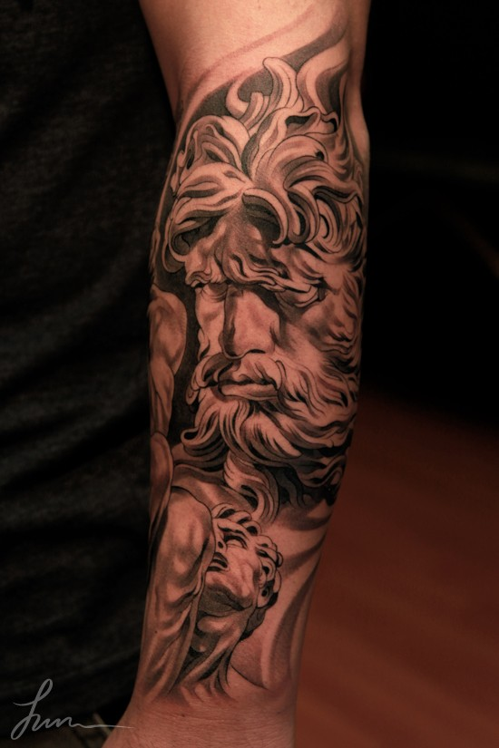 3D style designed black and white big forearm tattoo of antic statues