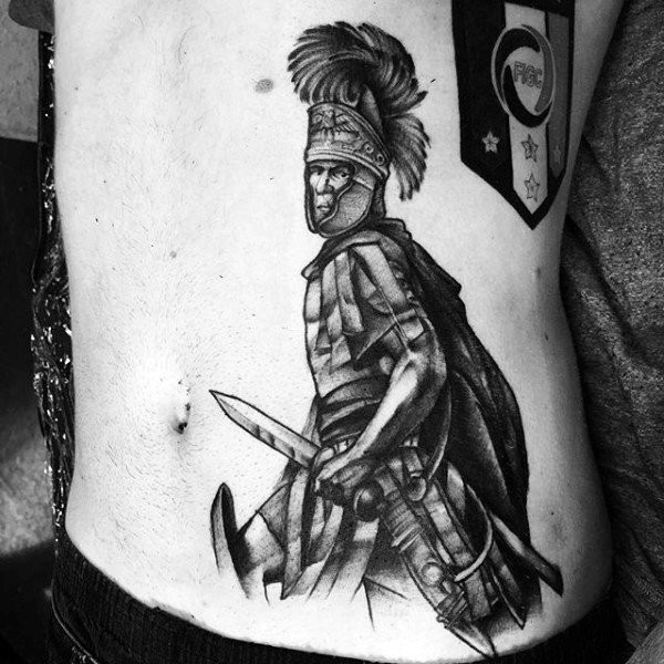 3D style designed black and white side tattoo of Roman warrior