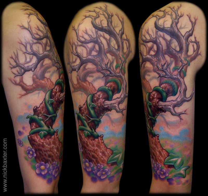 3D style designed colored mystical lonely tree tattoo on shoulder with violet flowers