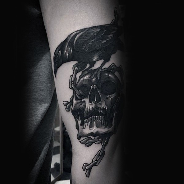 3D style detailed chained skull with crow
