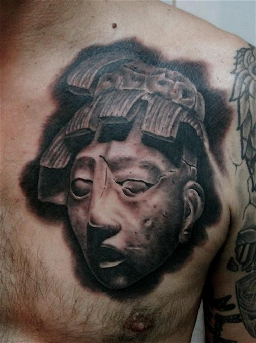 3D style detailed chest tattoo of antic statue