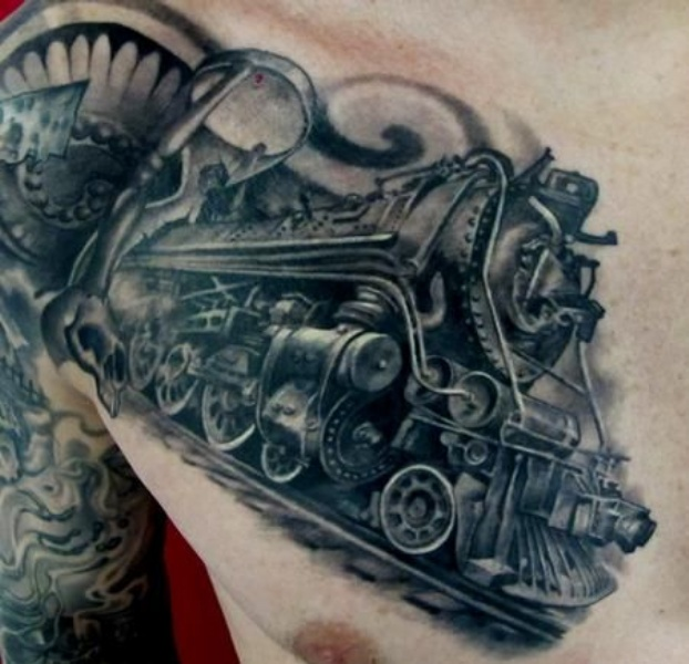 3D style detailed chest tattoo of big steel train