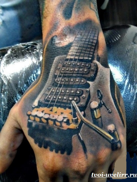 3D style detailed looking hand tattoo of cool rock guitar
