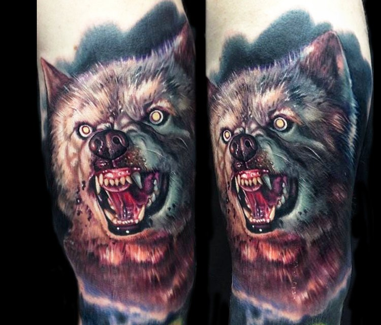 3D style detailed shoulder tattoo of evil wolf head