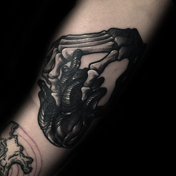 3D style detailed tattoo of skeleton hand with human