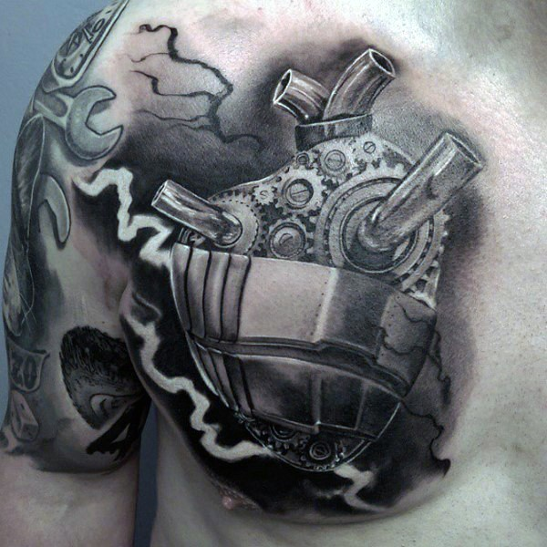 3D style engraving chest tattoo of biomechanical heart