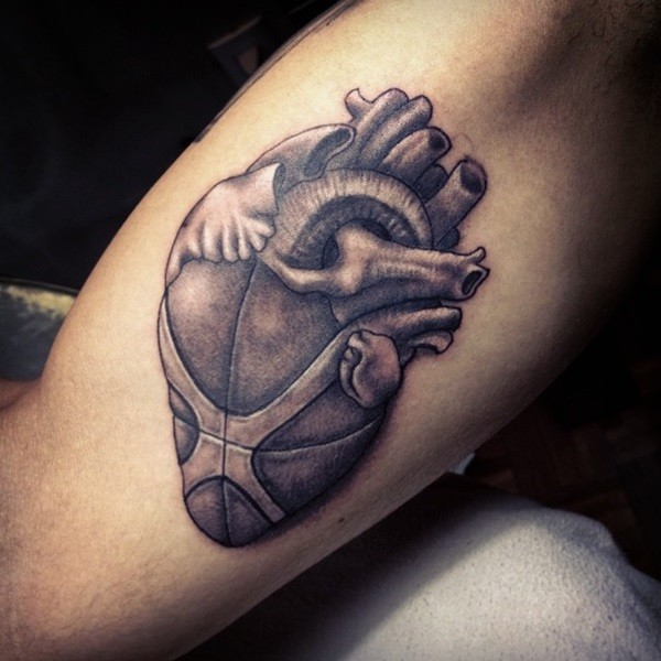 3D style engraving style human heart tattoo stylized with basketball