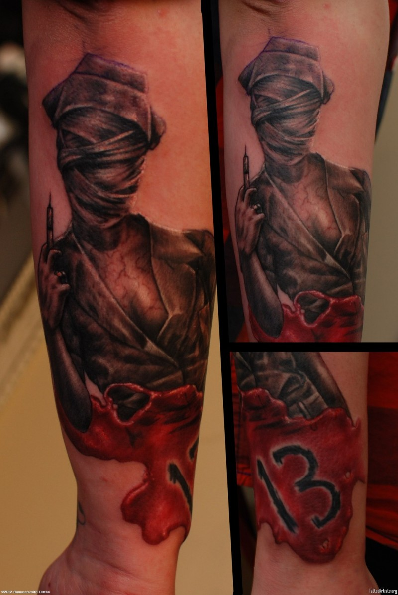 3D style famous horror movie creepy nurse tattoo on forearm with number