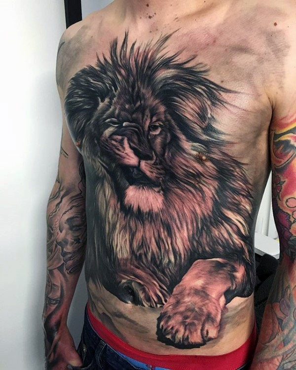 3D style fantastic looking chest and belly tattoo of cool lion