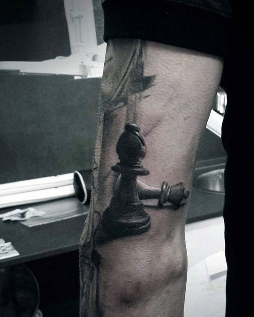 3D style gorgeous looking tattoo of lifelike chess figures