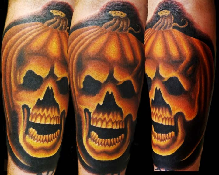 3D style Halloween pumpkin stylized with skull colored detailed tattoo with dark shadow