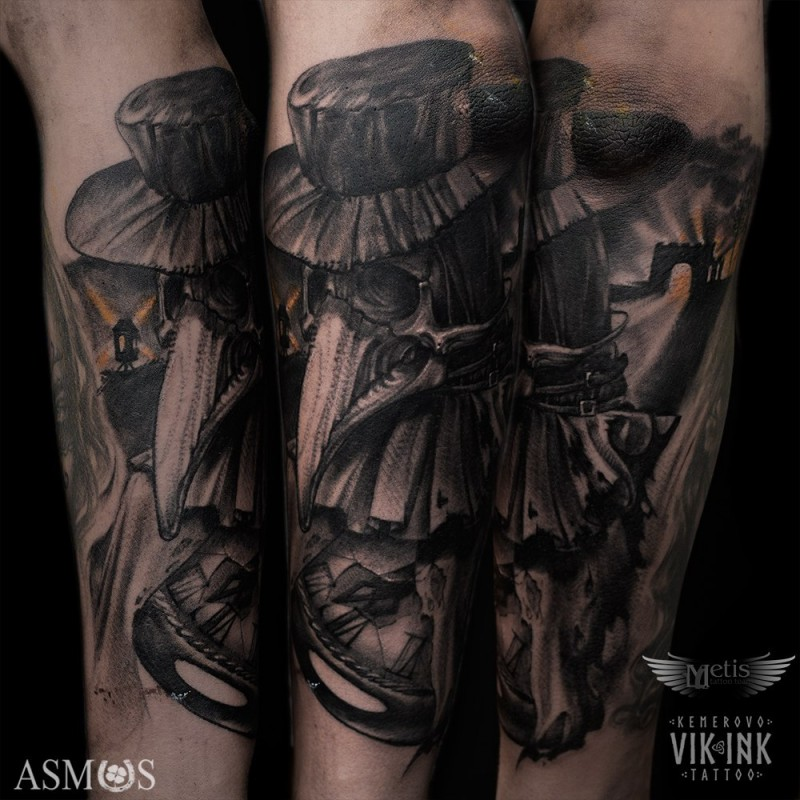 3D style impressive looking arm tattoo of evil plague doctor