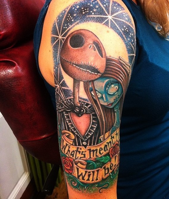 3D style incredible colorful Nightmare before Christmas heroes tattoo on shoulder with lettering