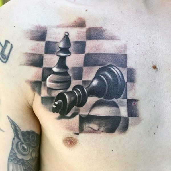 3D style incredible looking chest tattoo of chess figures