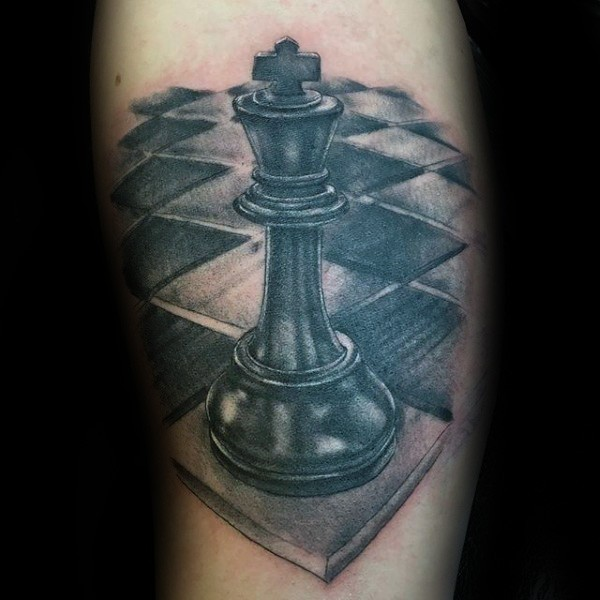 3D style large very detailed tattoo of black chess figure