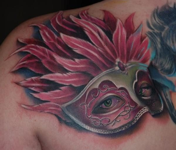 3D style modern colored shoulder tattoo of woman eye with mask and feather