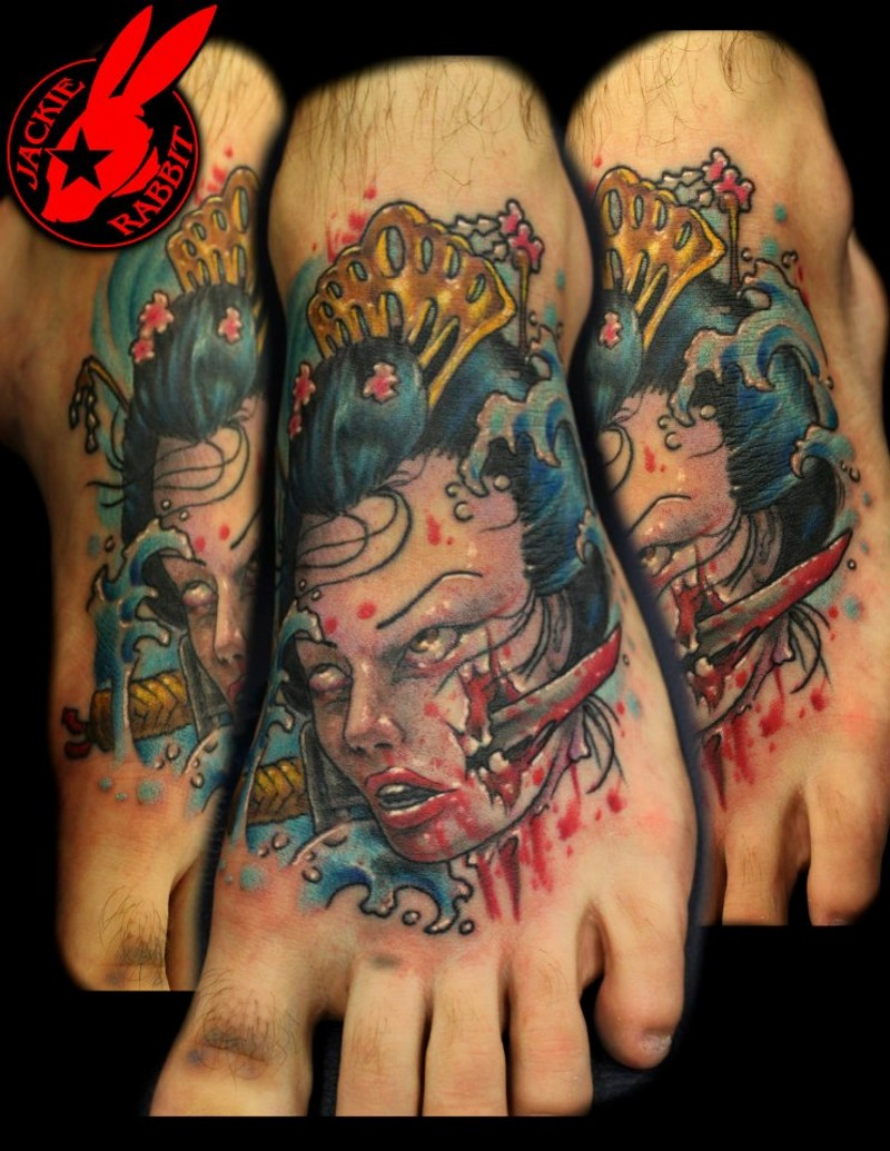 3D style multicolored severed head Asian woman head tattoo on foot with bloody knife