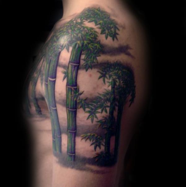 3d Stil Naturlich Aussehendes Farbiges Bambus Tattoo An Der Schulter
