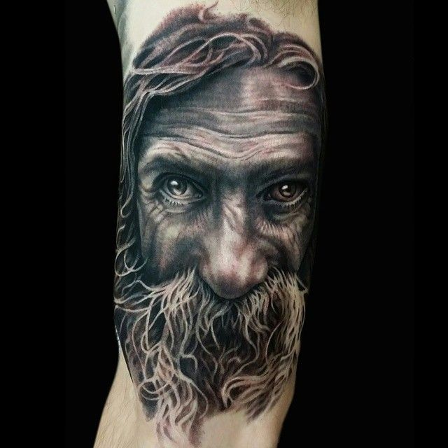 3D style natural looking colored old man portrait on arm with big beard