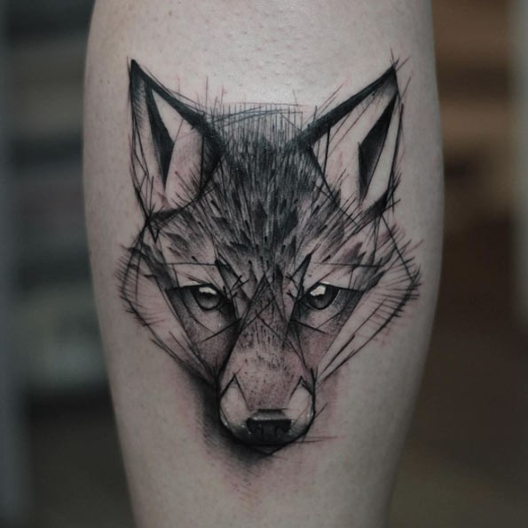 3D style painted black ink forearm tattoo of wolf face