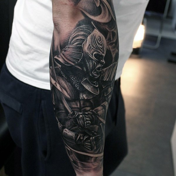 3D style painted colored mystical Asian warrior tattoo on forearm